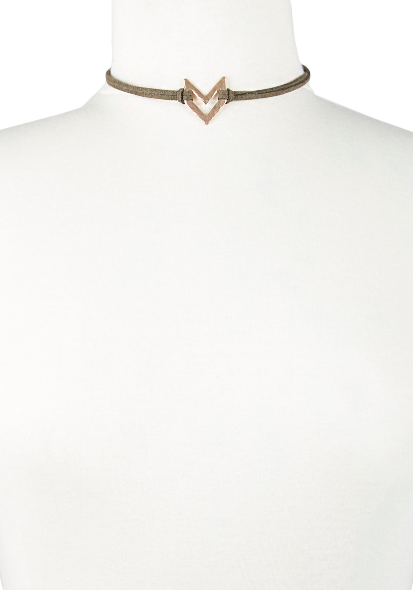 Ladies' Choker Necklace, DARK OLIVE, hi-res