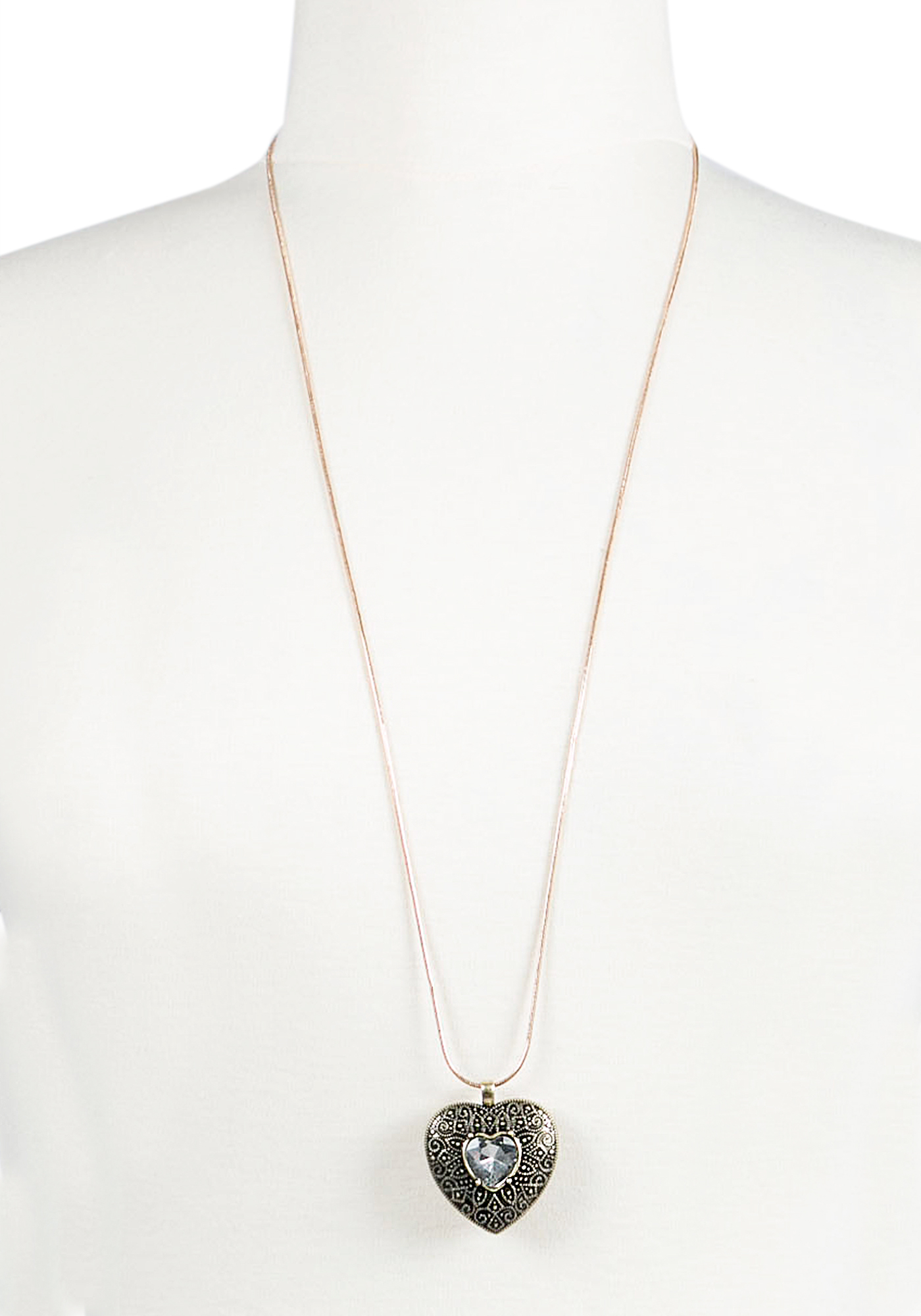 Ladies'  Crystal Heart Necklace, GOLD, hi-res