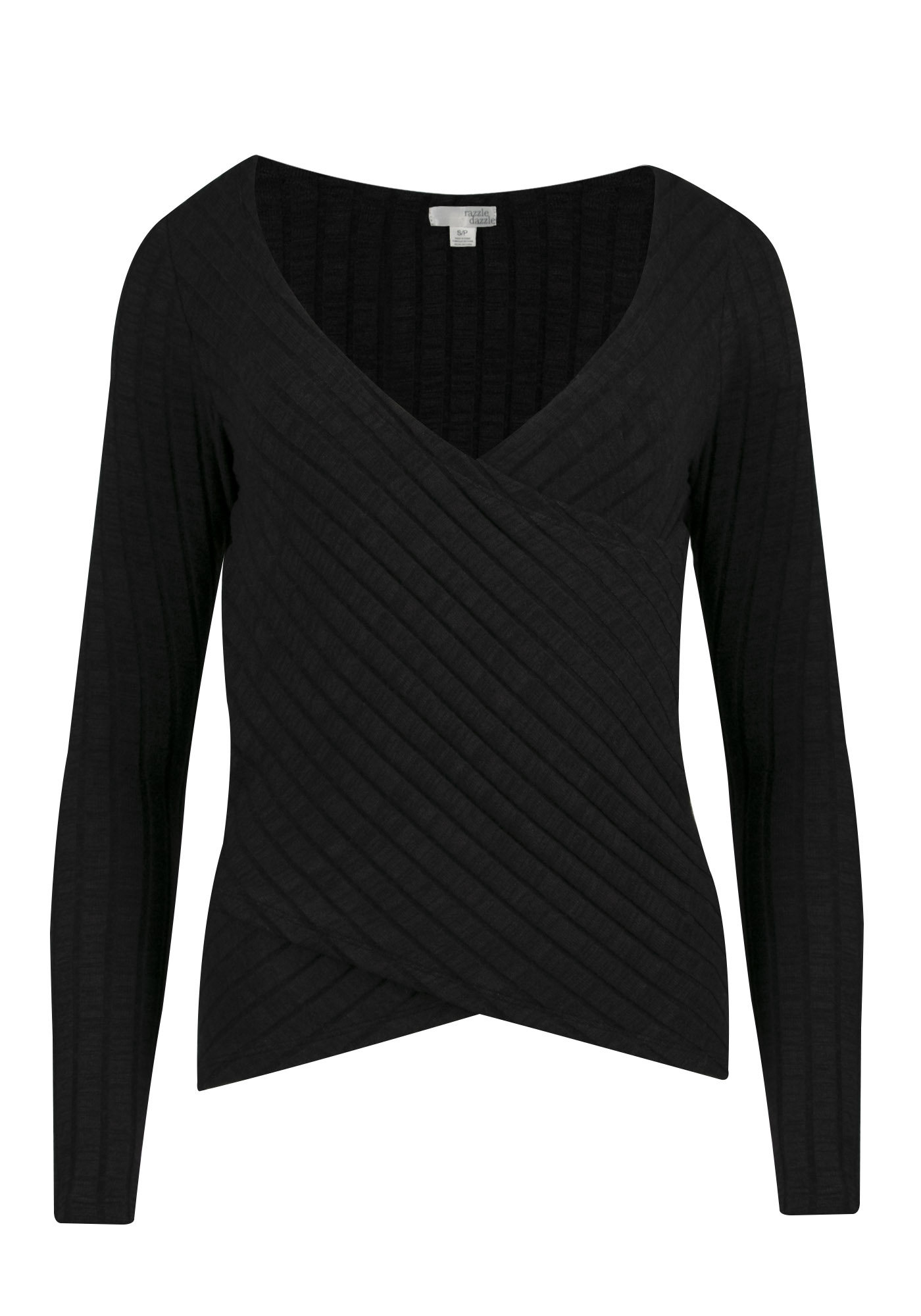 Ladies' Wrap Top, BLACK, hi-res