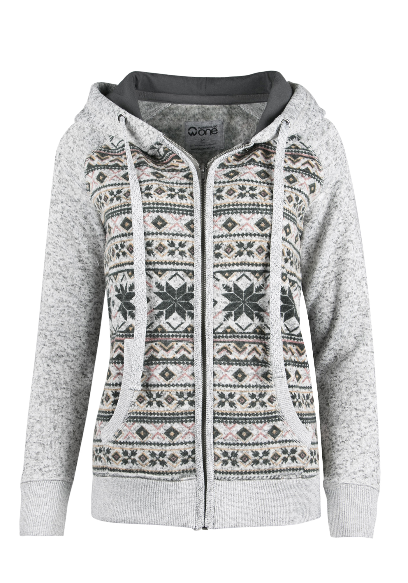 Ladies' Nordic Zip Front Hoodie, HEATHER GREY, hi-res