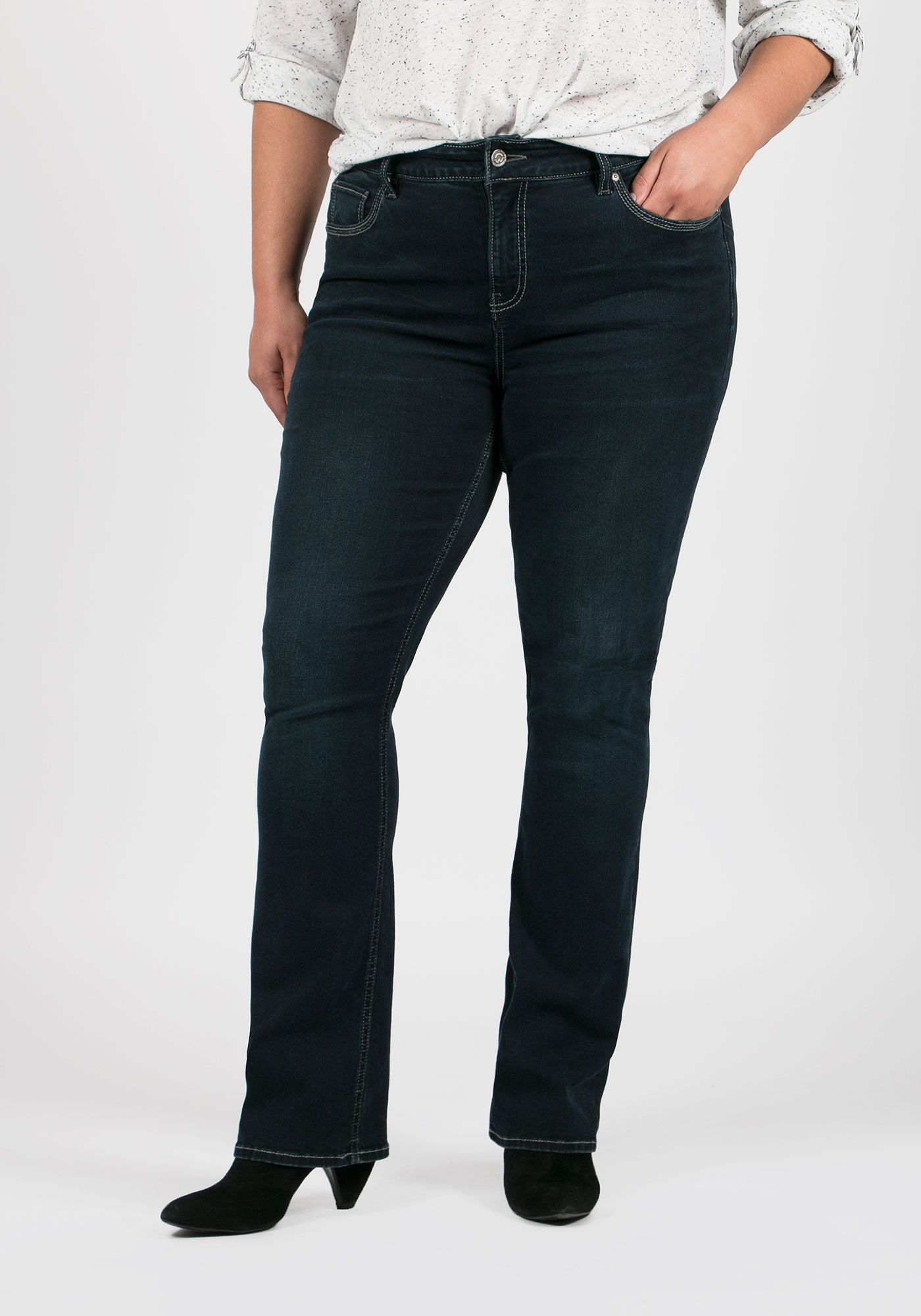 Ladies' Plus Size Baby Boot Jeans, RINSE WASH, hi-res