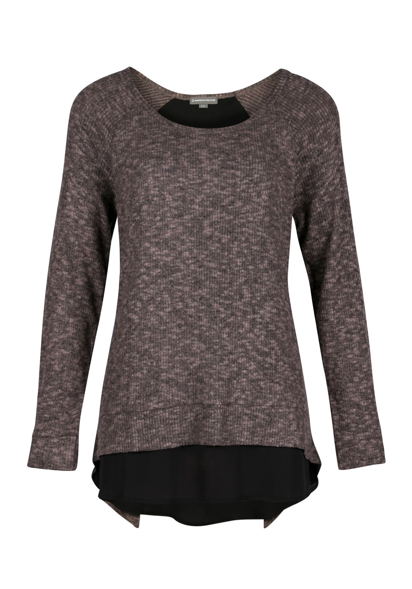 Ladies' Rib knit Pullover, BROWNSTONE, hi-res