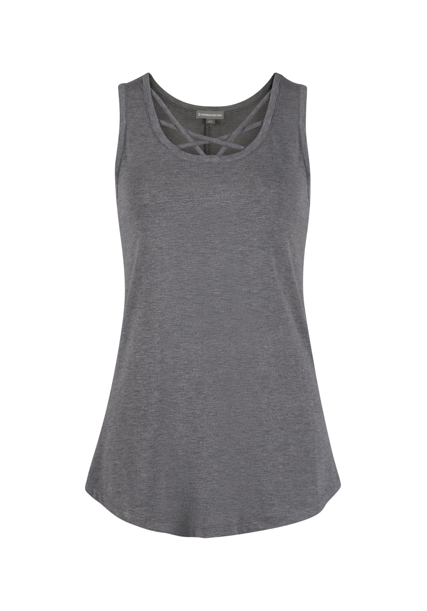 Ladies' Cage Neck Tank, CHARCOAL, hi-res