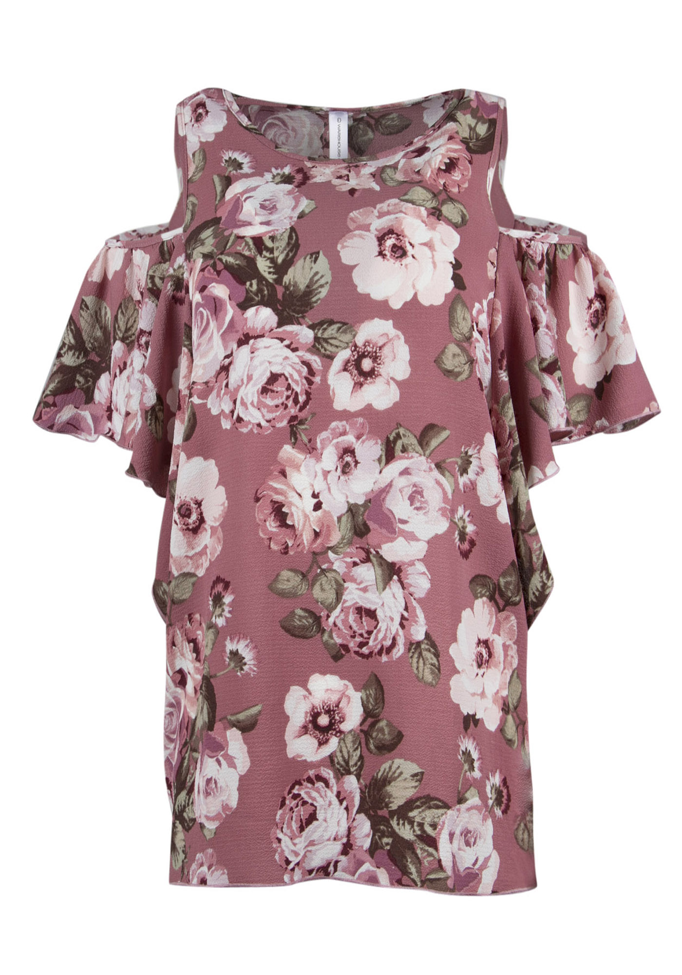 Ladies' Floral Cold Shoulder Top, MAUVE, hi-res