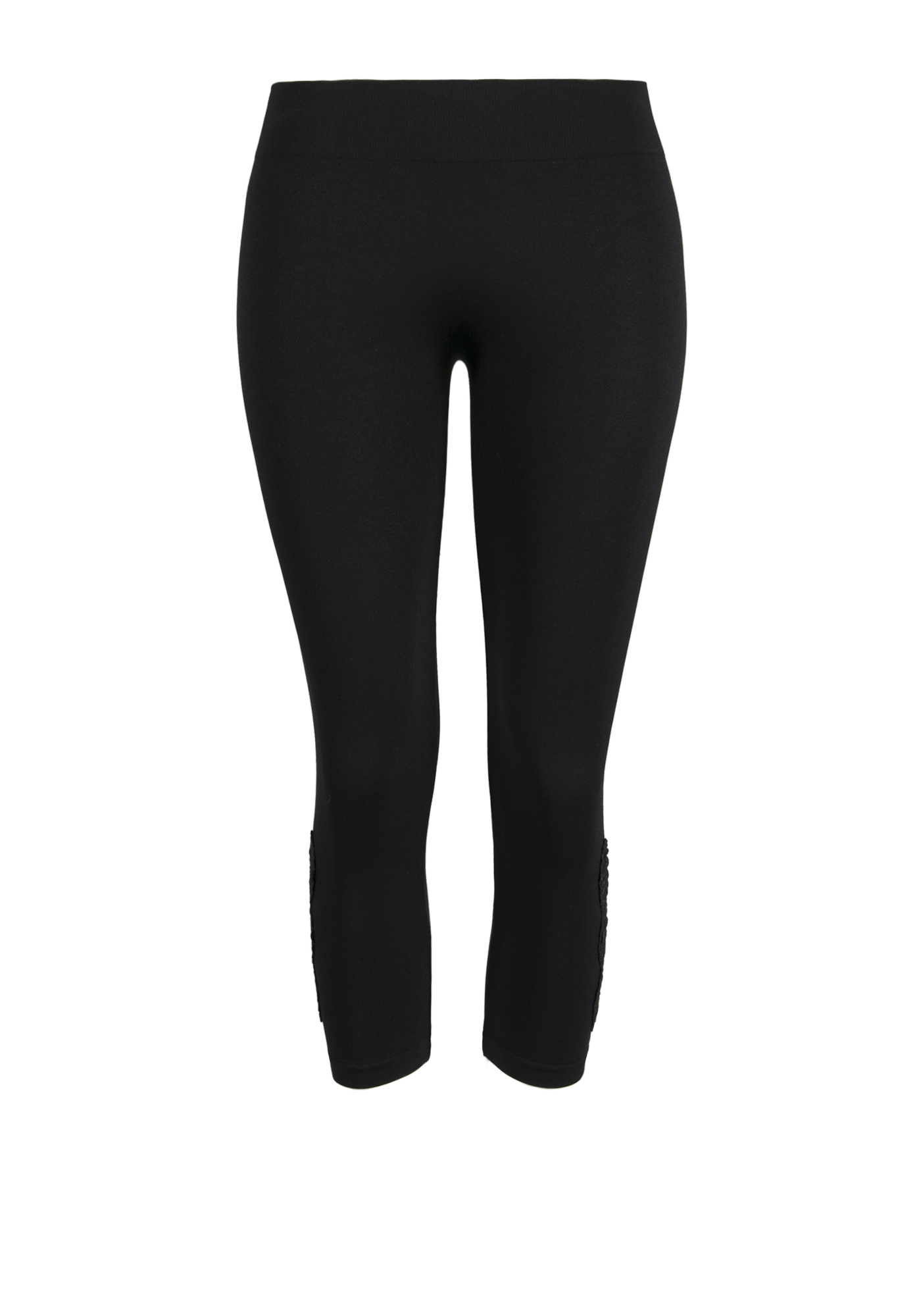 Ladies' Crochet Insert Capri Legging, BLACK, hi-res