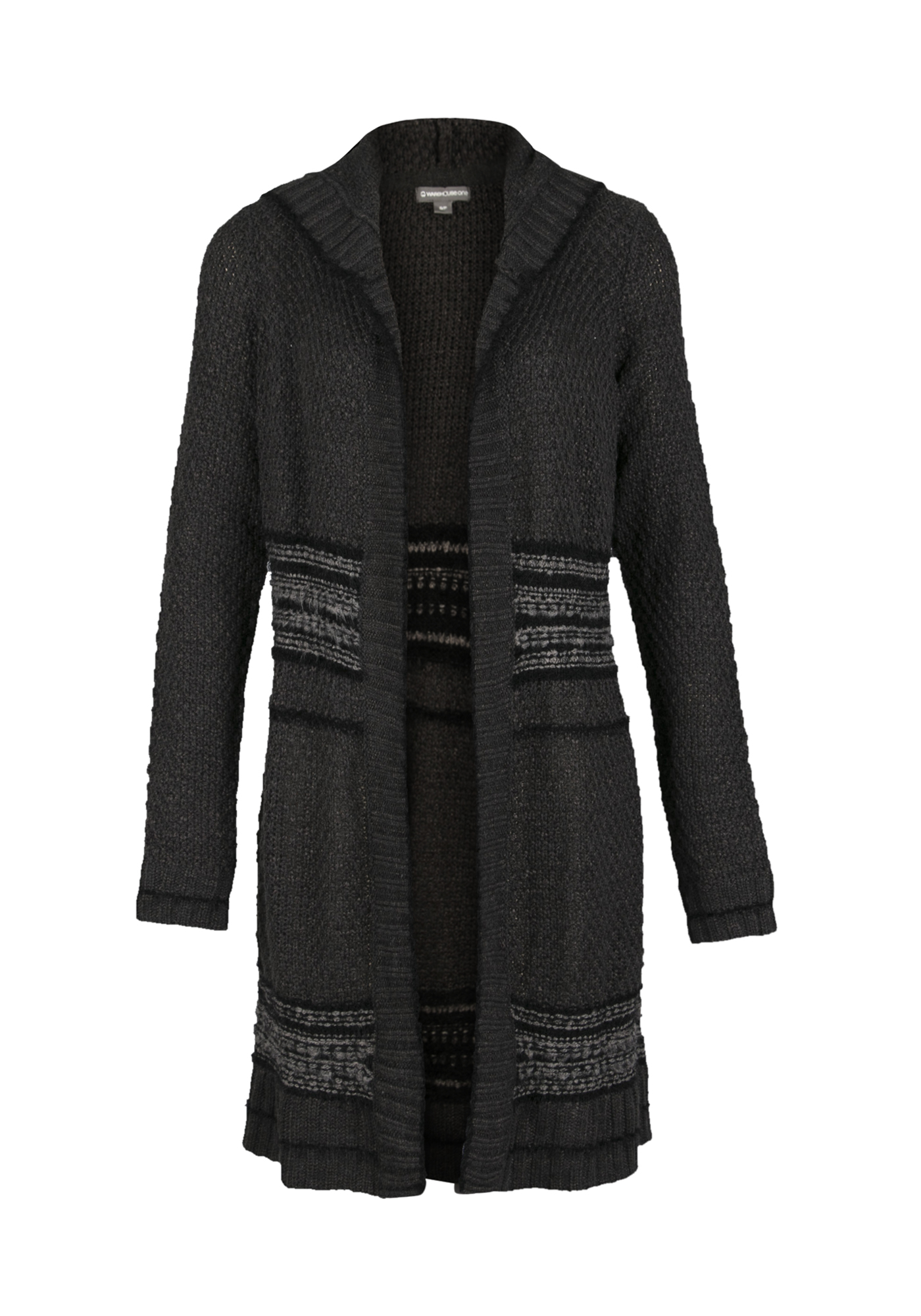 Ladies' Mixed Stitch Duster Cardigan, CHARCOAL, hi-res