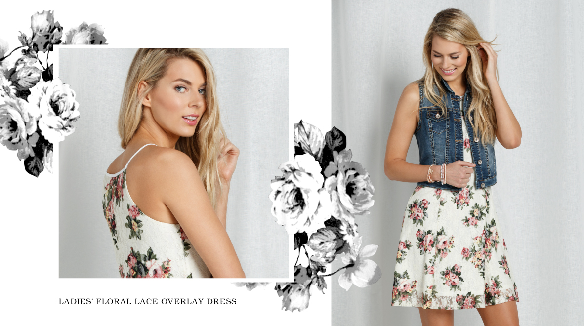 Ladies' Floral Lace Overlay Dress