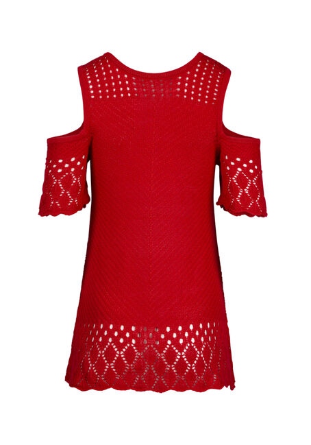 Women's Cold Shoulder Pointelle Sweater, RED SEA, hi-res