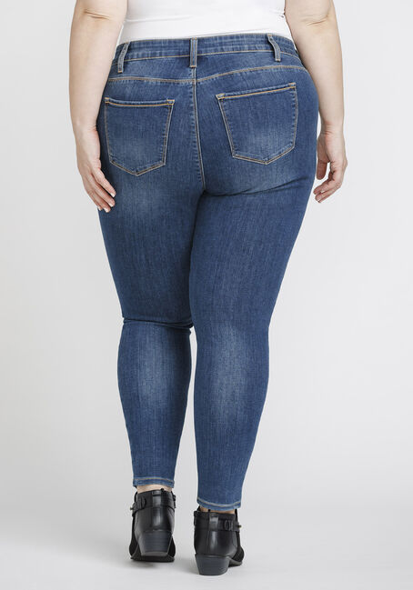 Women's Plus Size Mid Rise Skinny Jeans, DENIM, hi-res