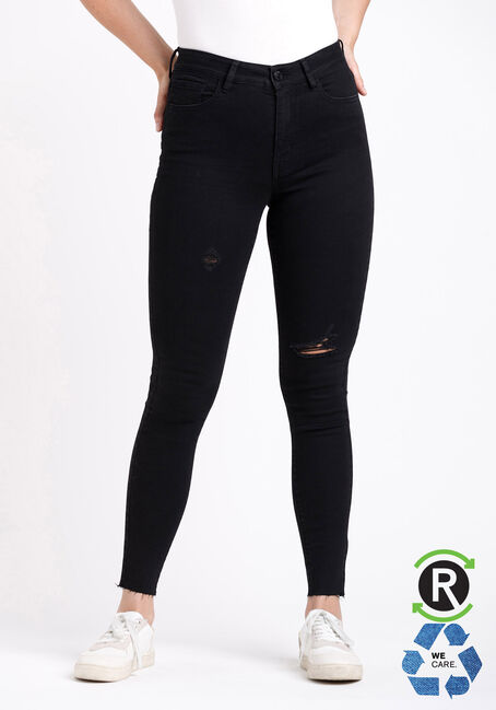 Women's High Rise Black Destroyed Ankle Skinny Jeans