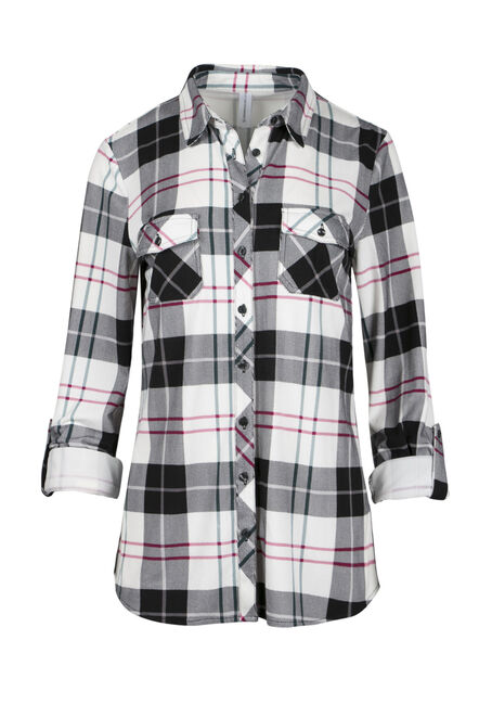 Ladies' Relaxed Fit Knit Plaid Shirt
