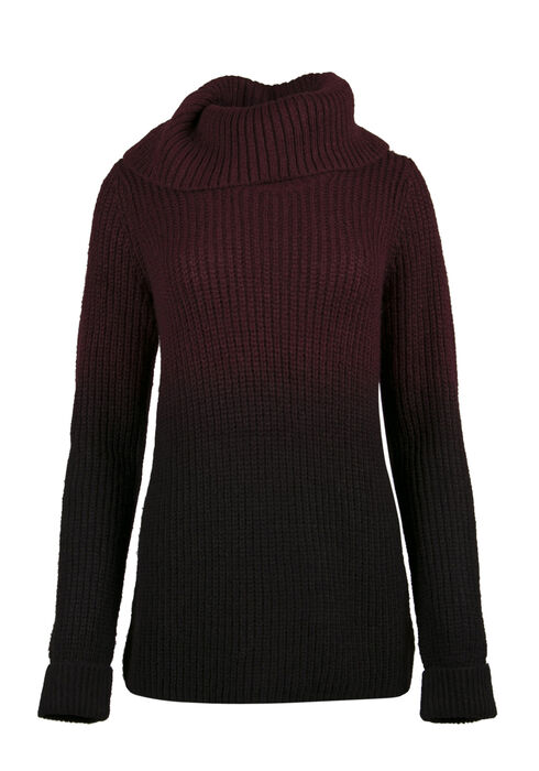 Ladies' Ombre Sweater, WINE/ BLACK, hi-res