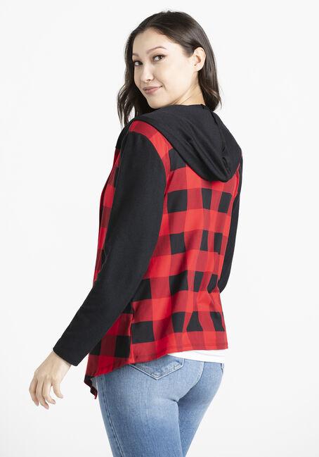 Women's Buffalo Plaid Knit Wrap, RED/BLACK, hi-res