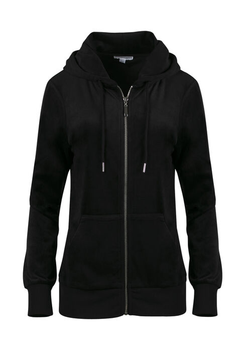 Ladies' Velour Zip Up Hoodie, BLACK, hi-res