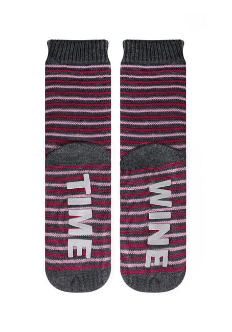 Ladies' Wine Time Lounging Socks, DEEP PINK, hi-res