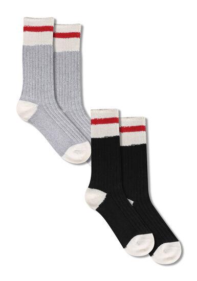 Women's 2 Pair Cabin Socks, RED, hi-res