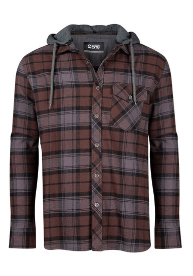 Men's Hooded Flannel Shirt, BROWN, hi-res