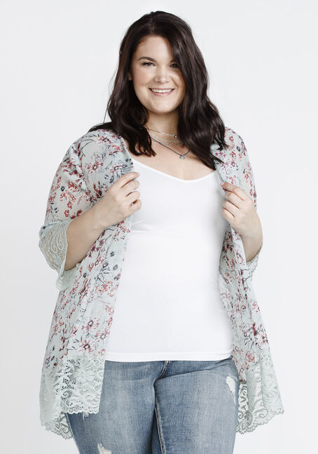 Women's Floral Lace Trim Kimono, COOL MINT, hi-res