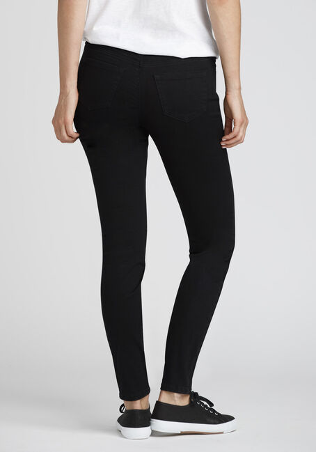 Ladies' Button Fly Skinny Jeans, BLACK, hi-res