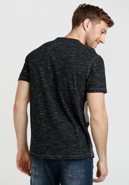 Men's Short Sleeve Colourblock Henley, BLACK, hi-res
