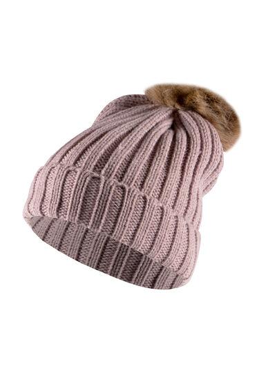 Women's Oversized Pom Hat, DUSTY PINK, hi-res