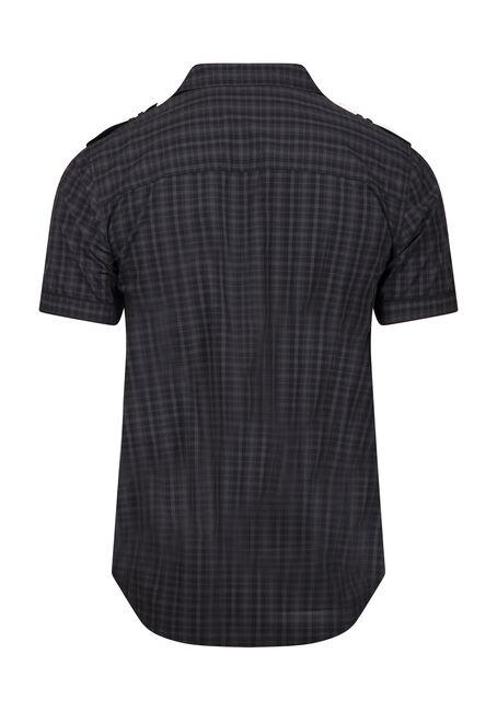 Men's Mini Plaid Shirt, BLACK, hi-res