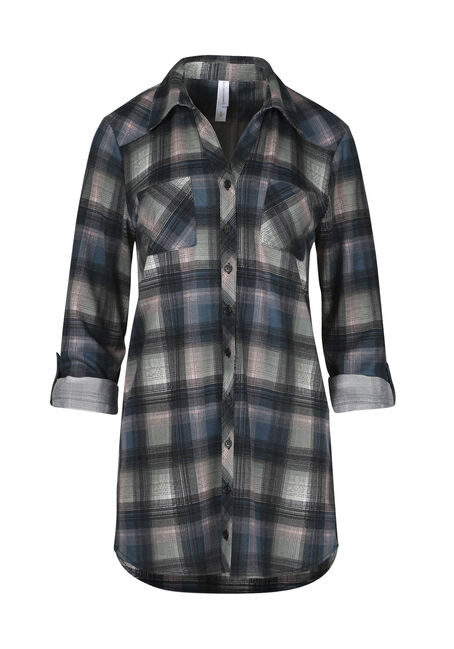 Ladies' Knit Plaid Tunic Shirt