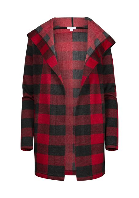 Women's Buffalo Plaid Hooded Wrap, BLK/RED, hi-res