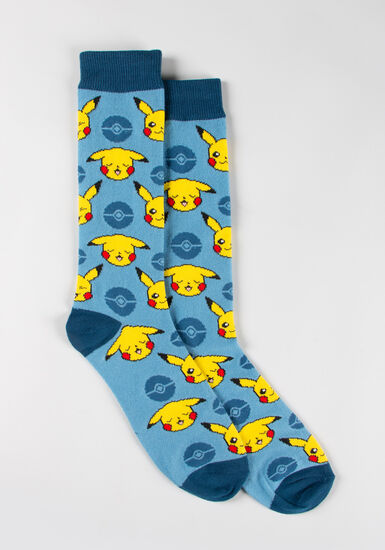 Men's Pokemon Socks, BLUE, hi-res