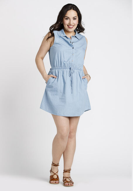 Women's Denim Shirt Dress, LIGHT BLUE, hi-res
