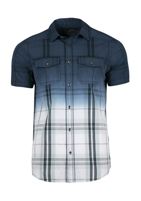 Men's Plaid Dip Dye Shirt