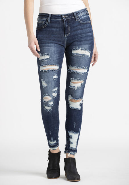 Women's Heavy Destroyed Ankle Skinny Jeans