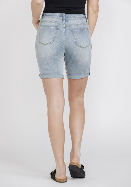 Women's Destroyed Relaxed Cuffed Bermuda Short, LIGHT WASH, hi-res