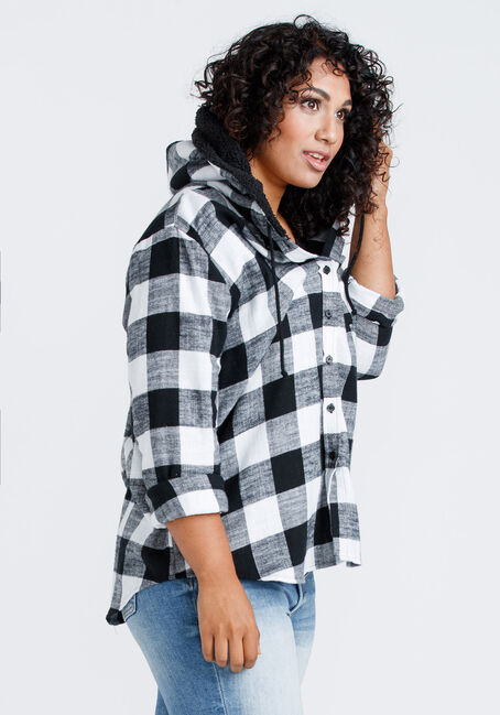 Women's Flannel Plaid Hooded Shirt