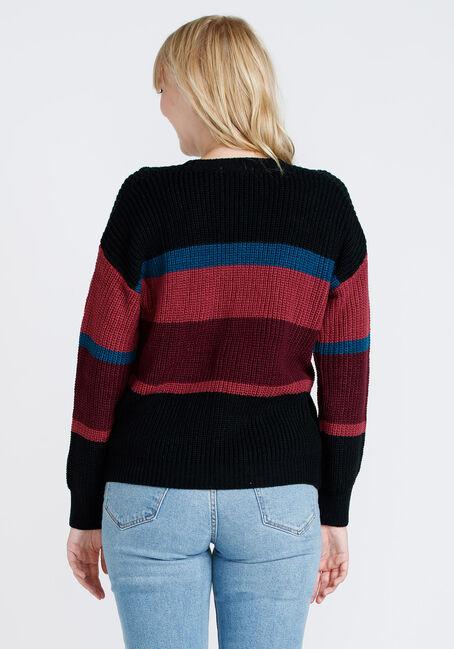 Women's Stripe Crew Neck Sweater, MULTI, hi-res