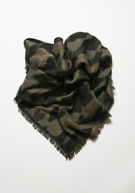 Women's Camo Scarf, OLIVE, hi-res