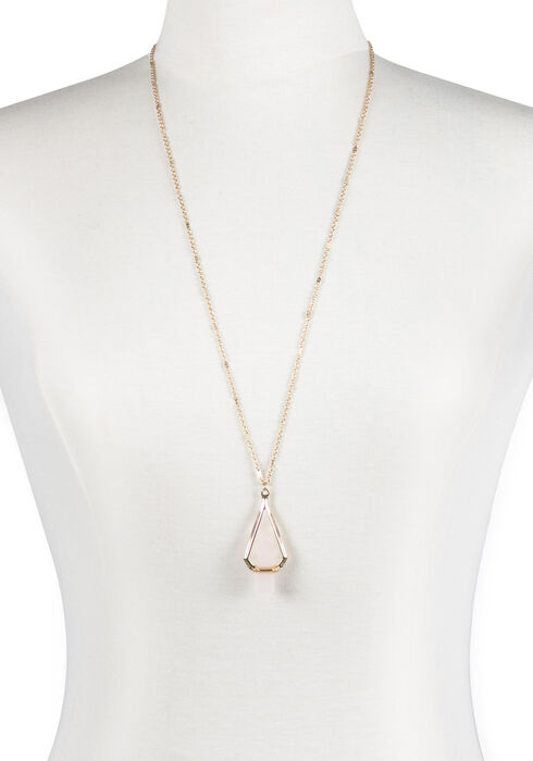 Women's Suspended Stone Necklace, ROSE GOLD, hi-res