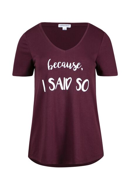 Women's Because I Said So V Neck Tee, WINE, hi-res