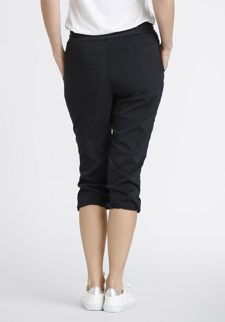 Women's Ruched Capri, BLACK, hi-res