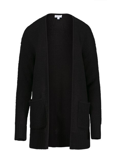 Women's Textured Stitch Cardigan, BLACK, hi-res
