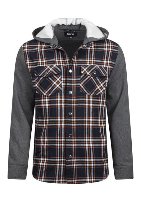 Men's Hooded Plaid Shirt Jacket