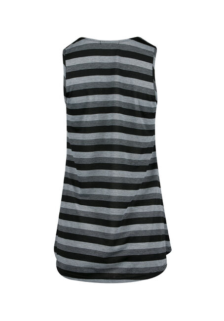 Ladies' Cage Neck Stripe Tunic Tank, BLACK/GREY, hi-res