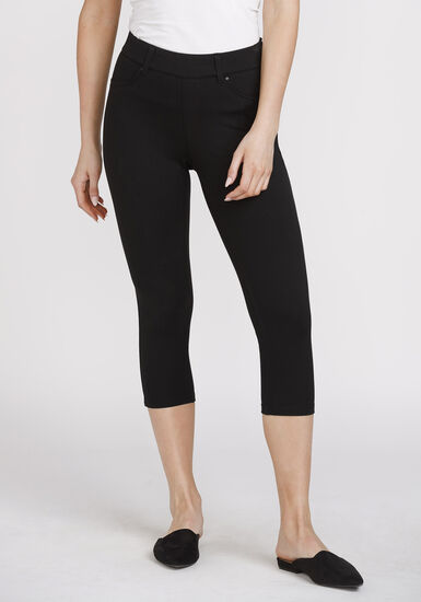 Women's Pull-on Skinny Capri, BLACK, hi-res