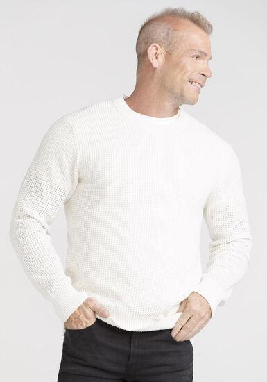 Men's Shaker Knit Sweater, WHITE, hi-res