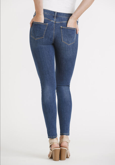 Women's Med Wash Skinny Jeans, DENIM, hi-res