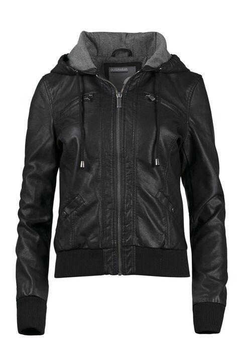 Ladies' Hooded Bomber Jacket, BLACK, hi-res
