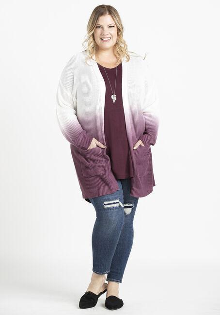 Women's Dip Dye Cardigan, WILD IRIS, hi-res