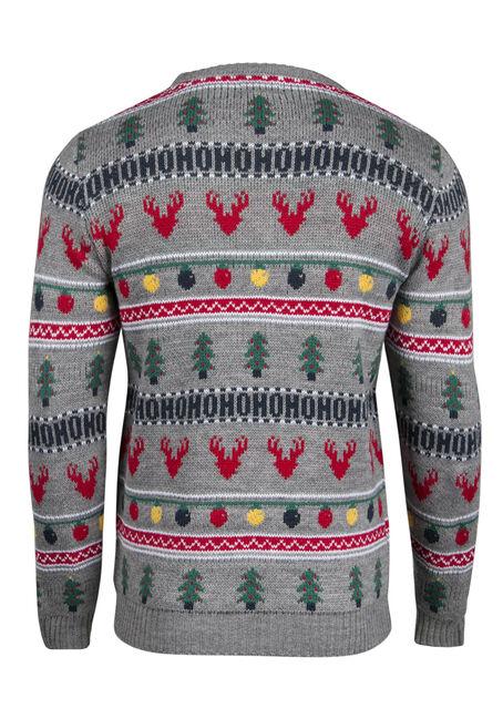 Men's Holiday Crew Neck Sweater, LIGHT GREY, hi-res