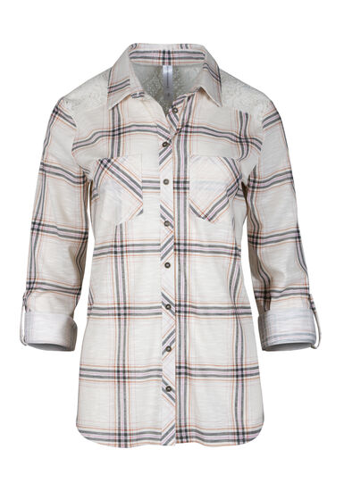 Women's Lace Trim Knit Plaid Shirt, LIGHT PINK, hi-res