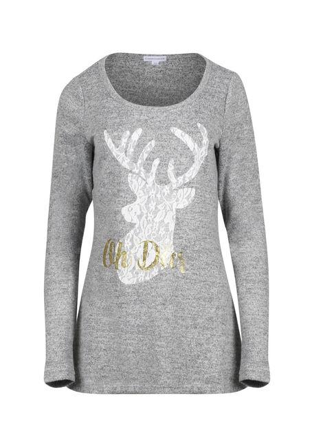 Women's Lace Reindeer Tunic Top